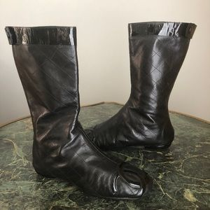 CHANEL Black Leather Flat Boots, Size 38 (8)